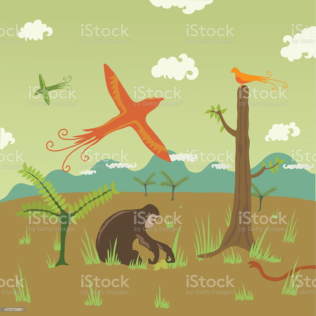 Birds, Apes, Snakes in Field with Background of Hills royalty-free stock vector art