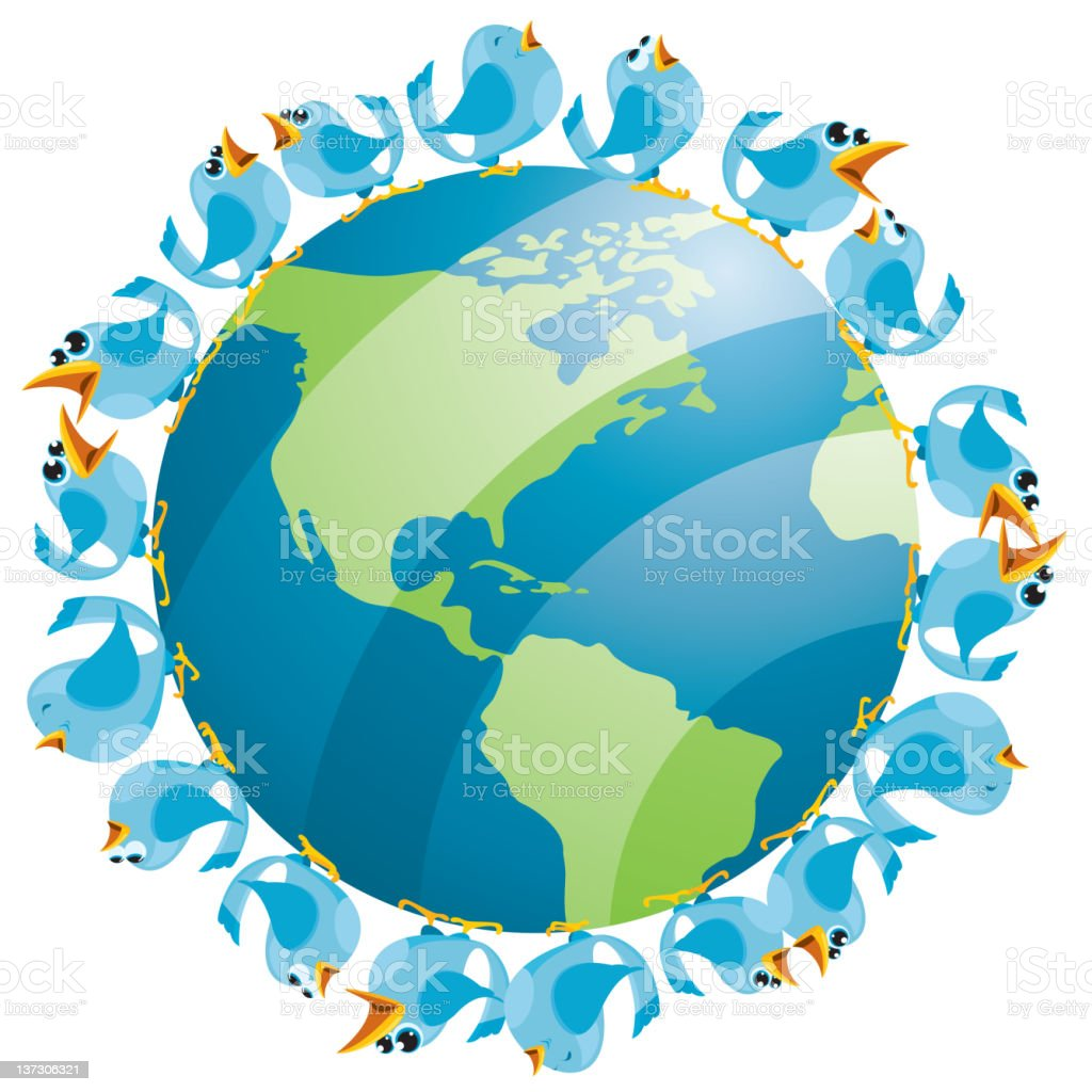Birds Around the Earth North America royalty-free stock vector art