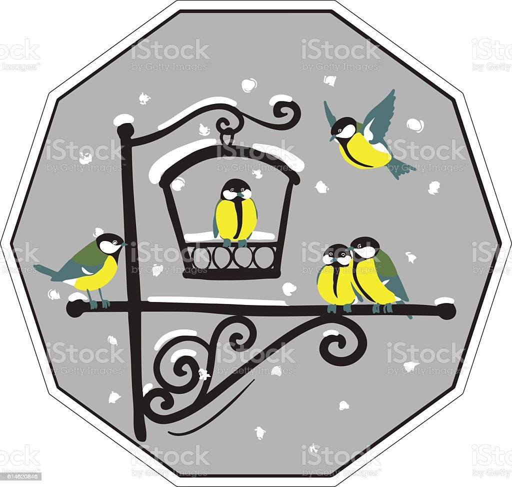 birds at feeders in winter vector art illustration