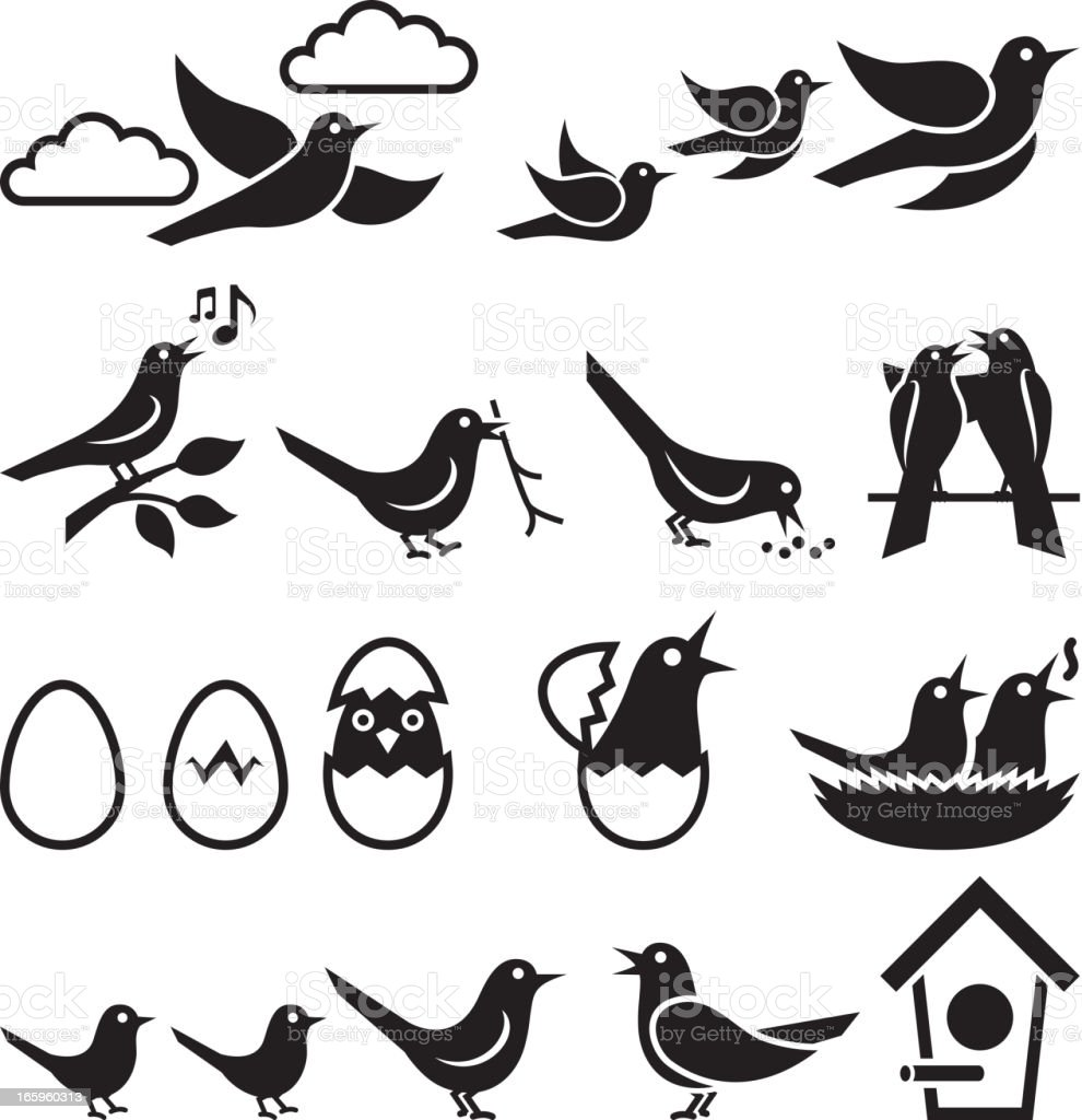 Birds black and white icon set vector art illustration