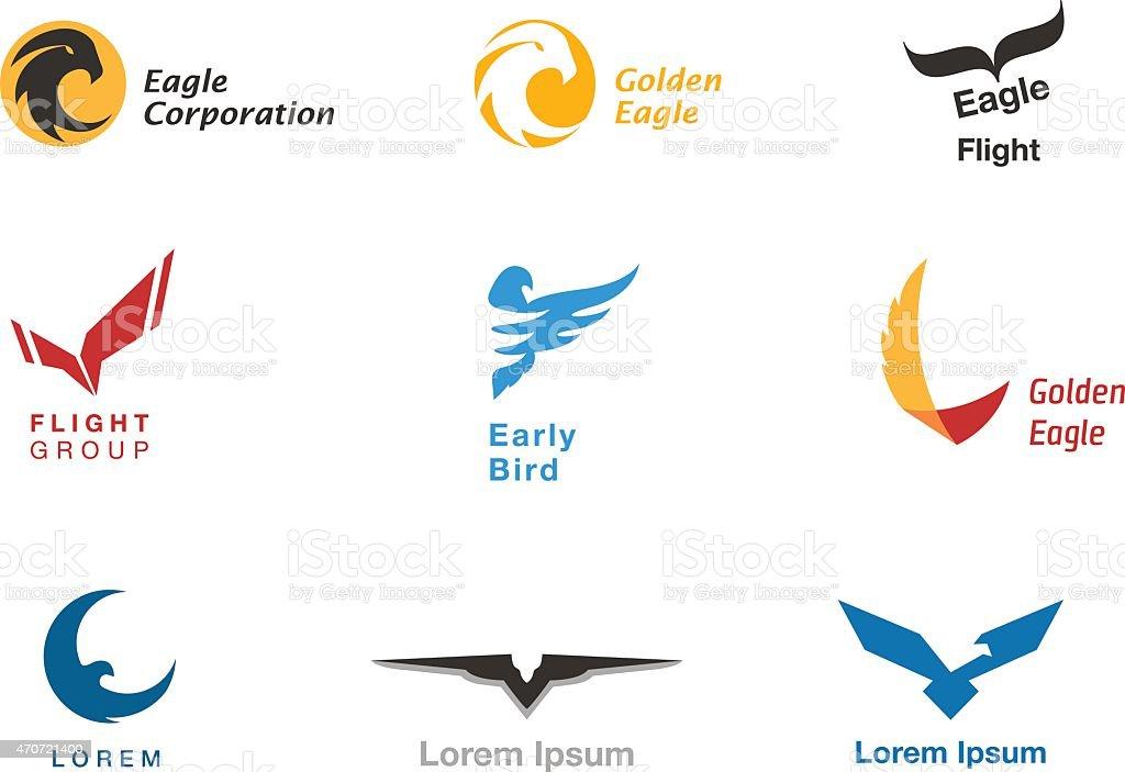 Birds branding symbols vector set vector art illustration
