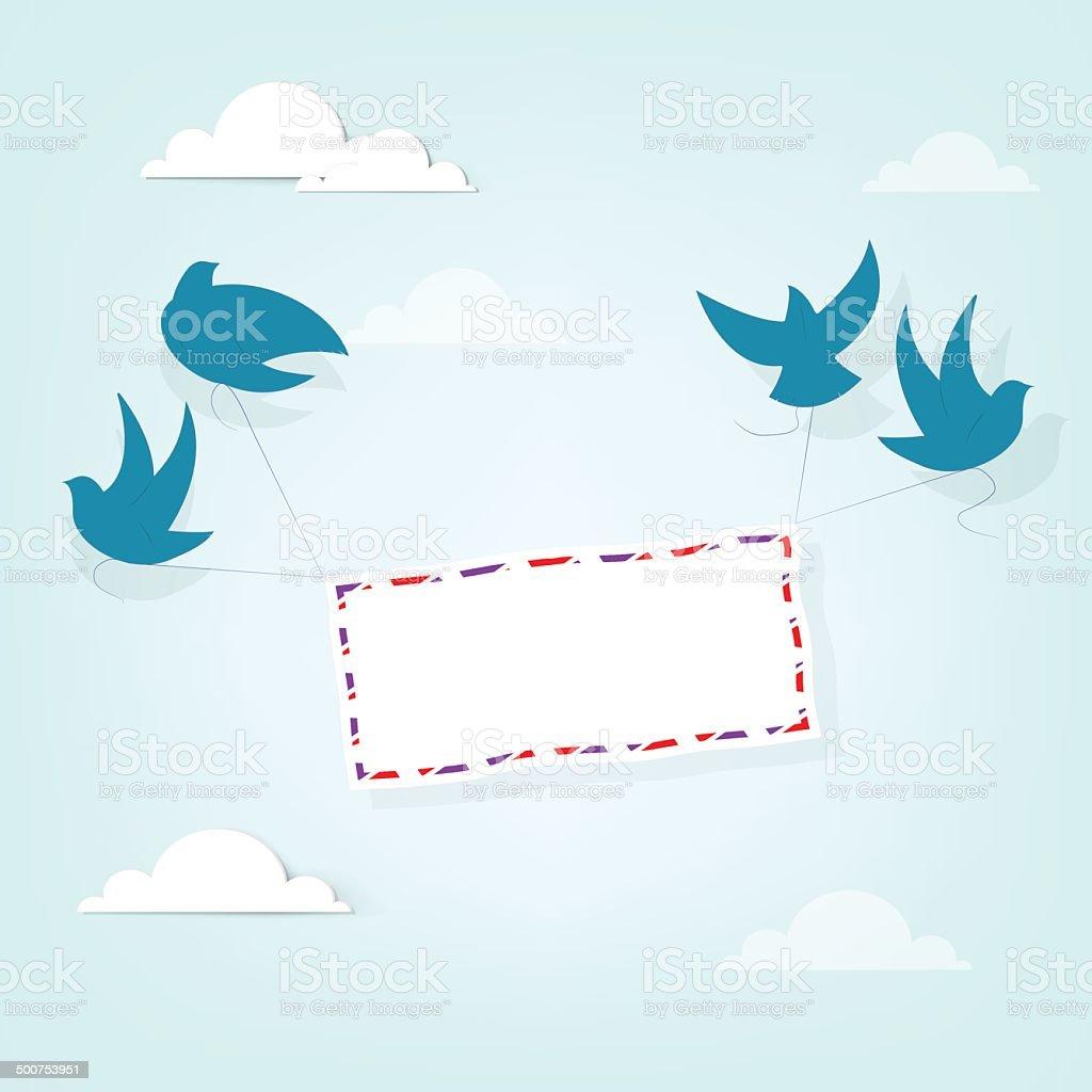 Oiseaux portait une lettre stock vecteur libres de droits libre de droits