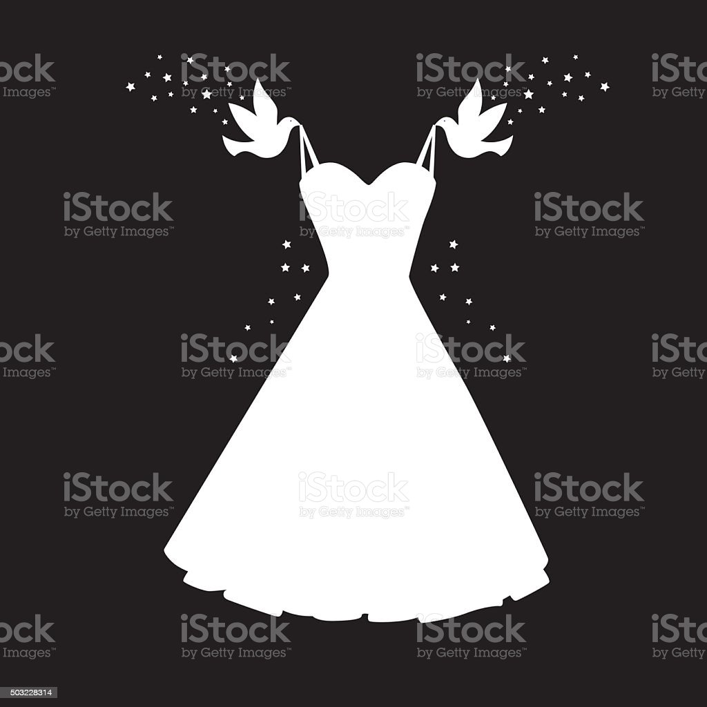 Birds Carrying Dress Icon vector art illustration