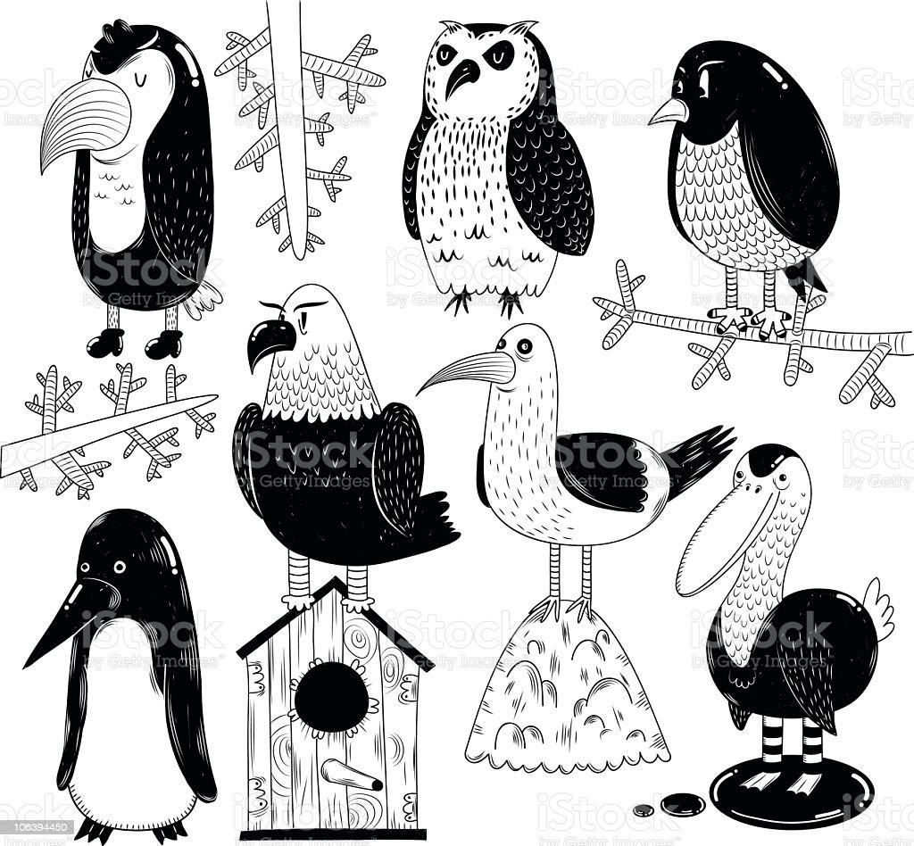 Birds doodle royalty-free stock vector art