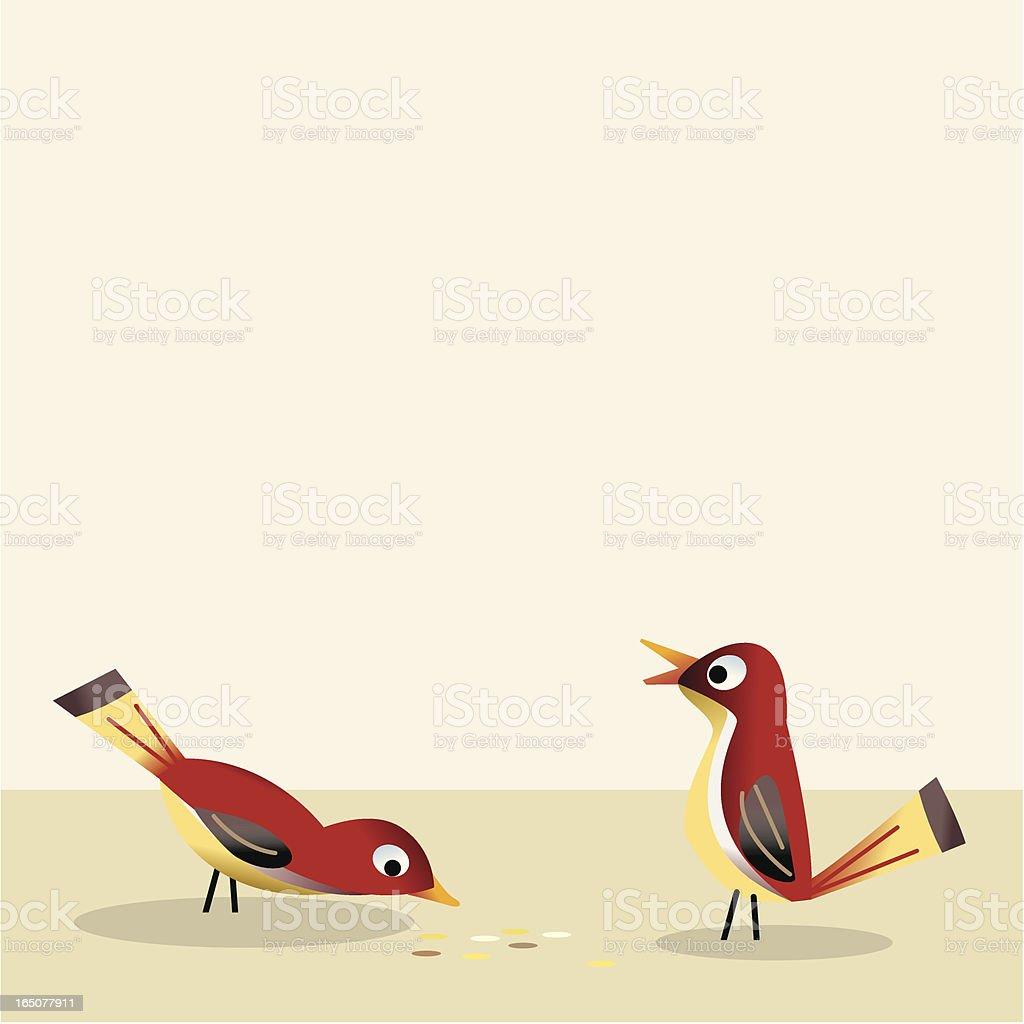 Birds eating crumbs vector art illustration