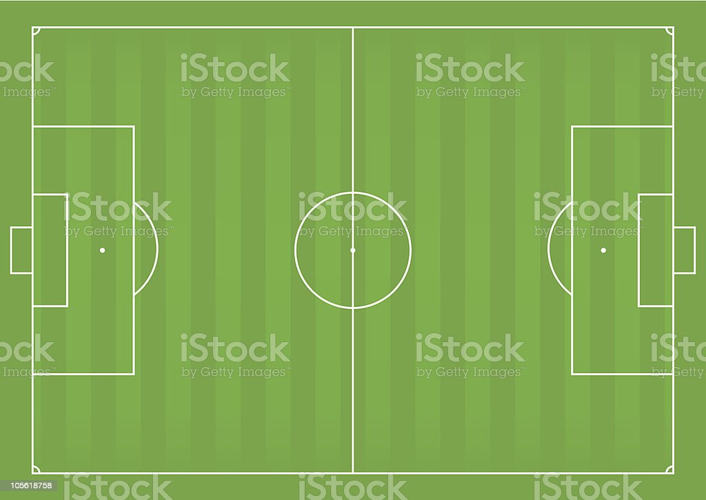 Birds eye view of European football field vector art illustration
