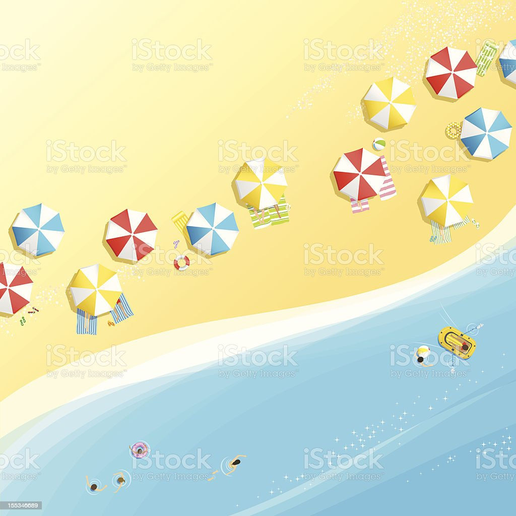 Birds eye view of the beach vector art illustration