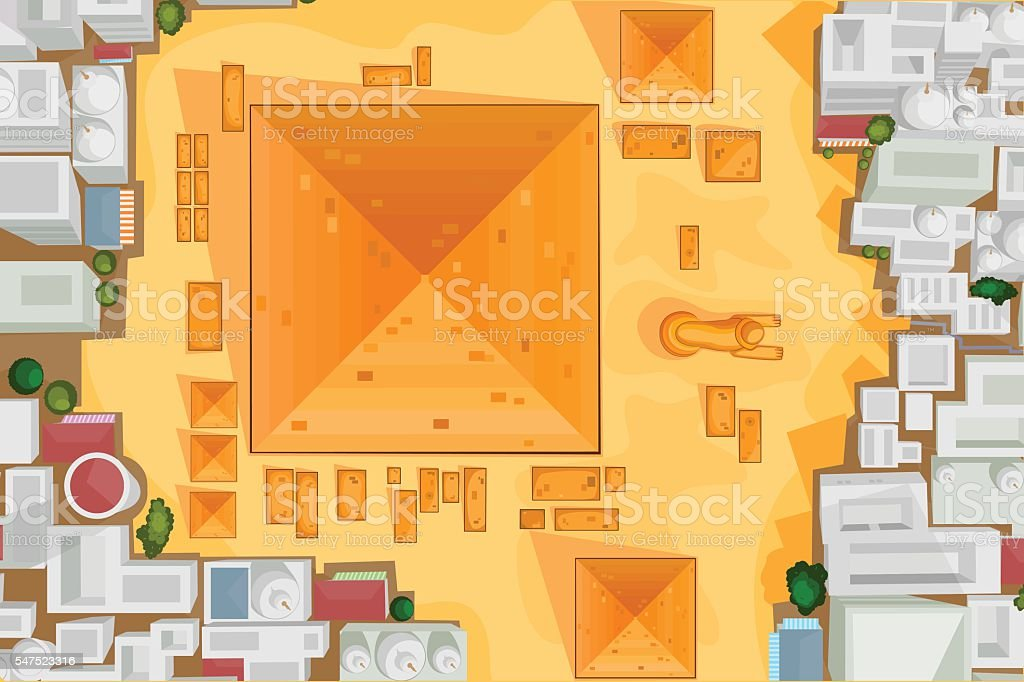 Birds eye view The Great Pyramid of Giza vector art illustration