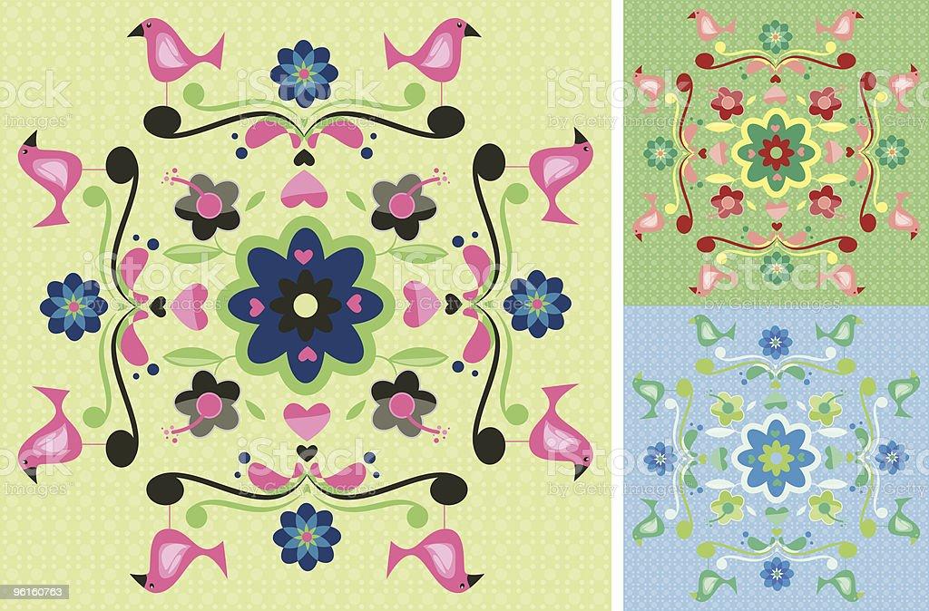 Birds Floral Patterns vector art illustration