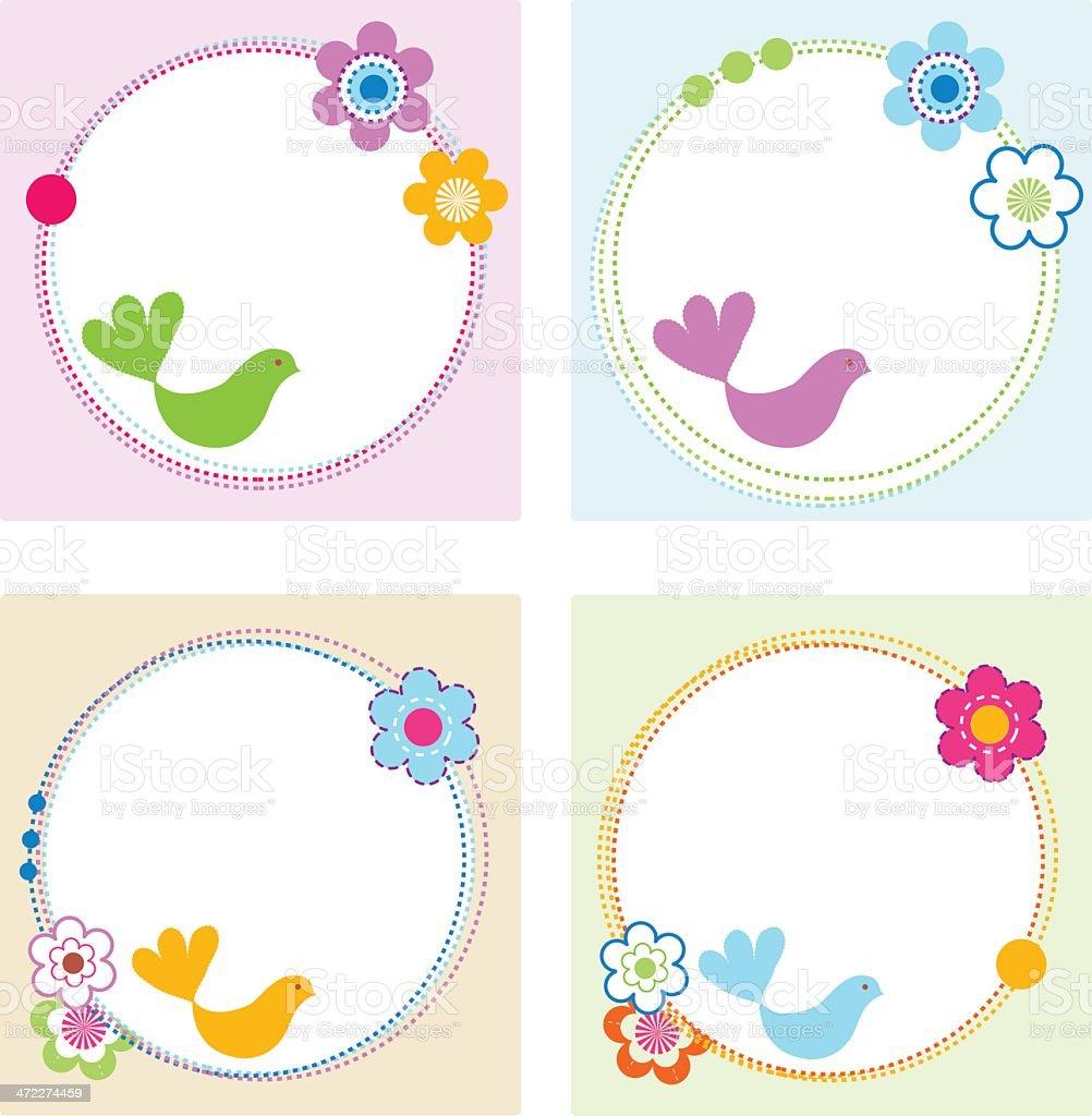 Birds Flowers Labels royalty-free stock vector art