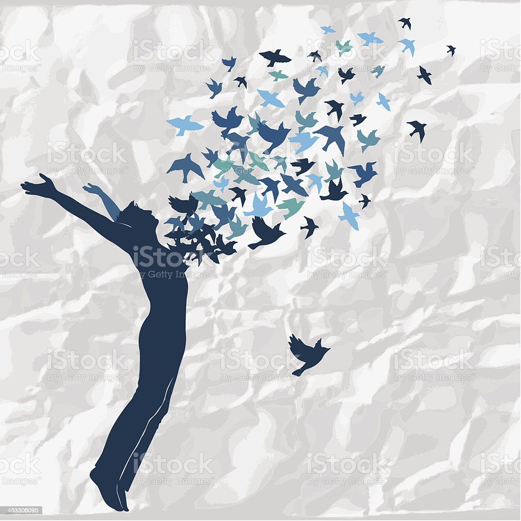 Birds flying out of a silhouette of a person leaping vector art illustration