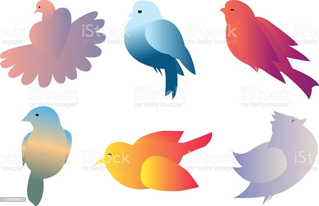 birds gradient vector art illustration