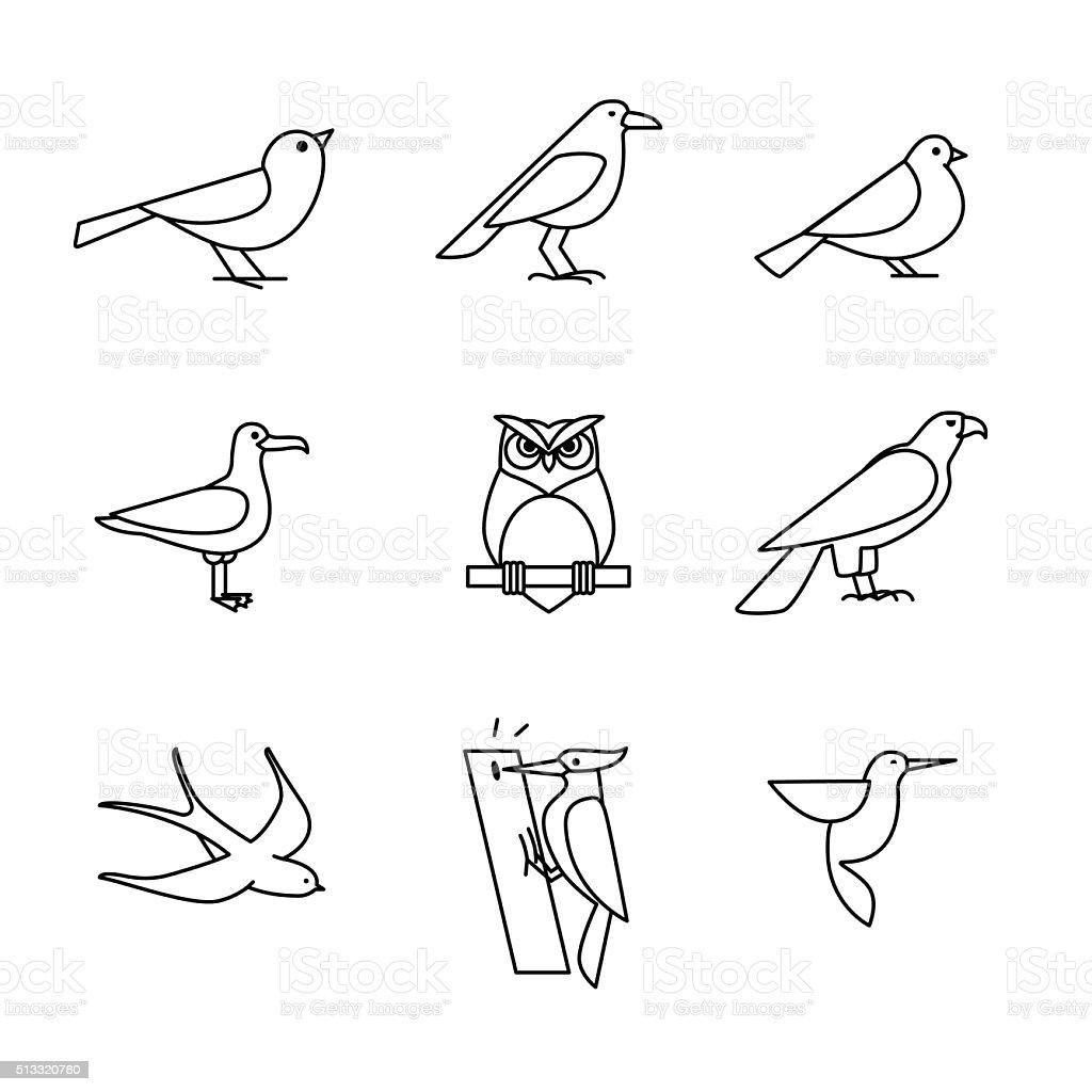 Birds icons thin line art set vector art illustration