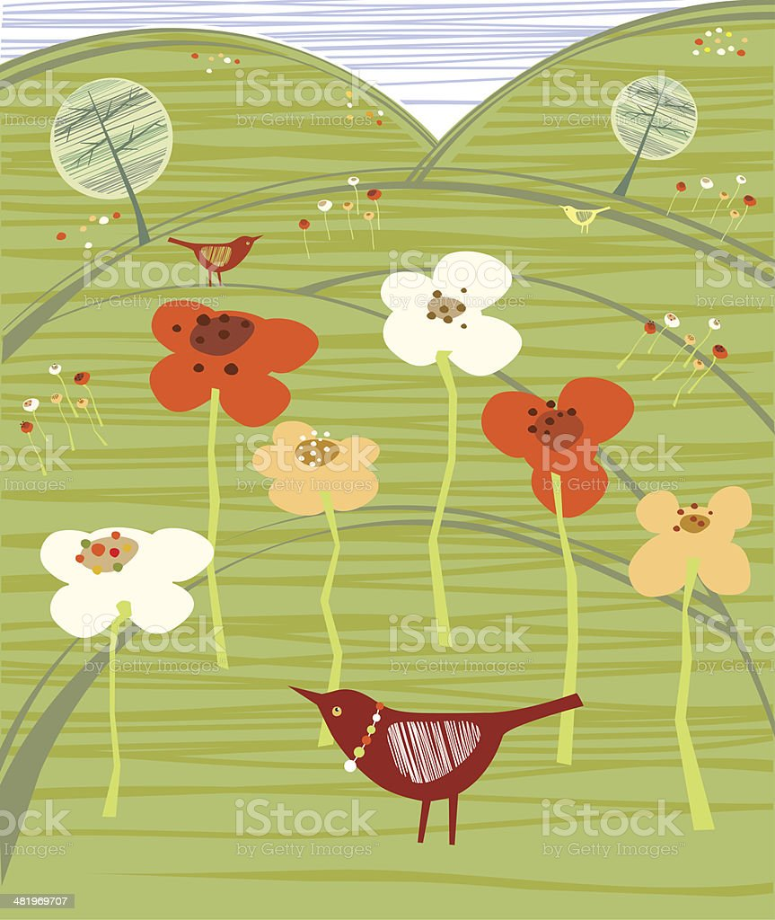 Birds In  Field With Wild Flowers royalty-free stock vector art