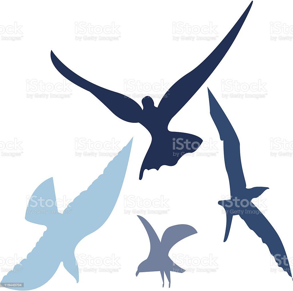 Birds in Flight - Vector royalty-free stock vector art
