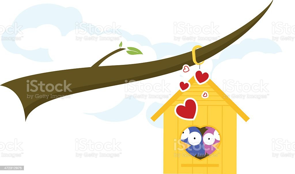 Birds in Love on a Birdhouse royalty-free stock vector art