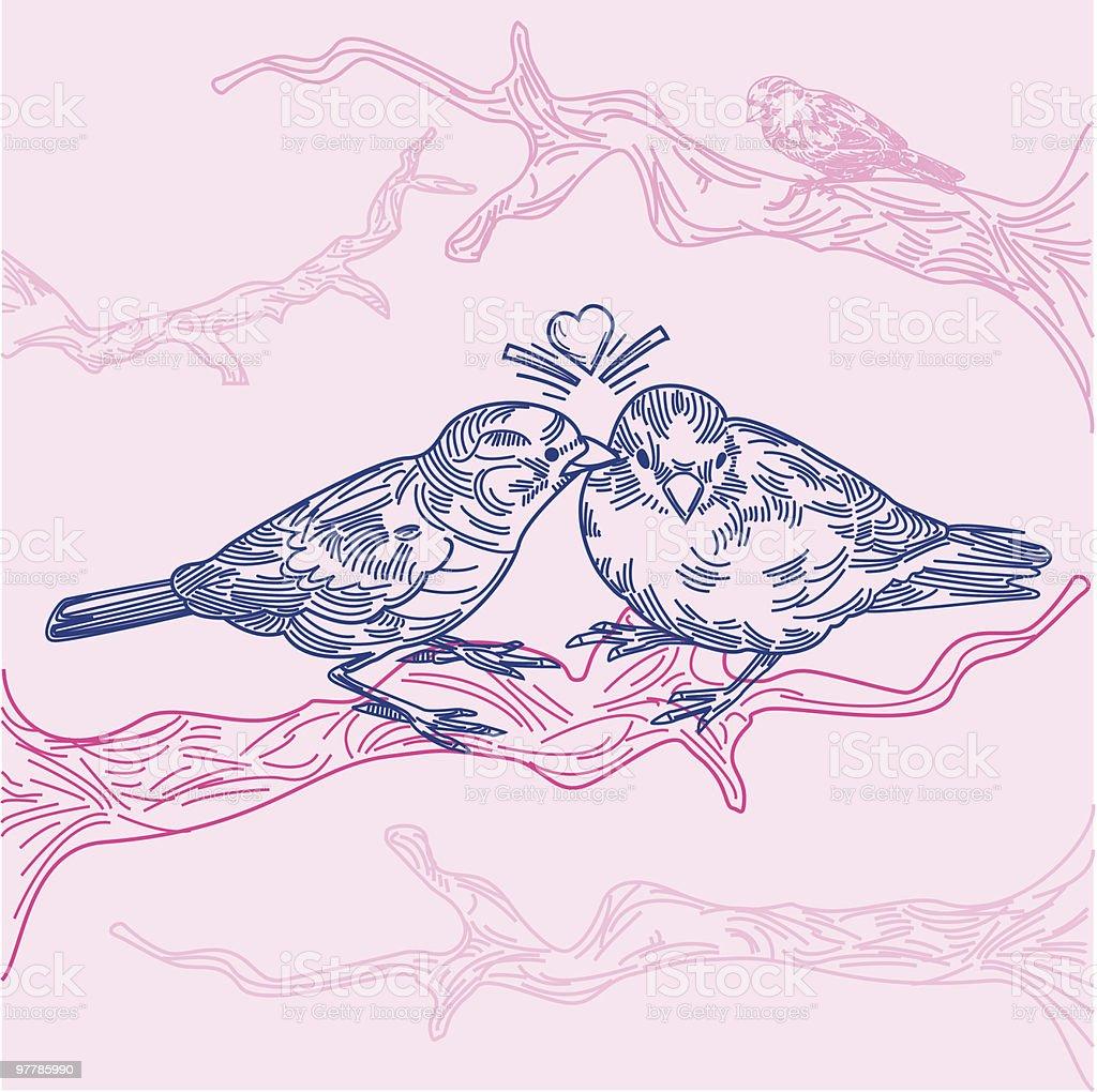Birds in Love royalty-free stock vector art