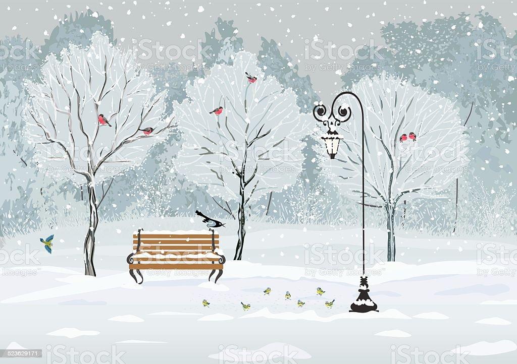 Birds in the park vector art illustration
