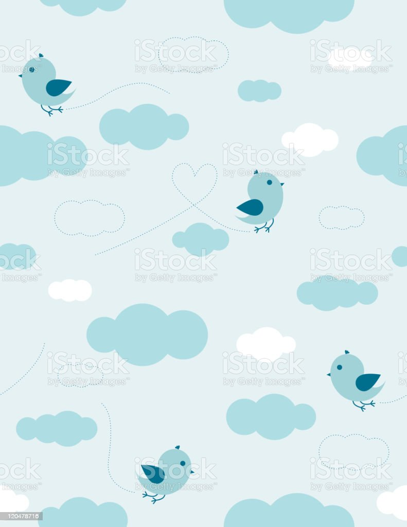 Birds in the sky vector art illustration