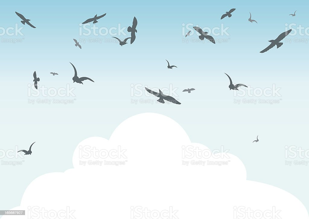 Birds in the Sky with Clouds Background royalty-free stock vector art