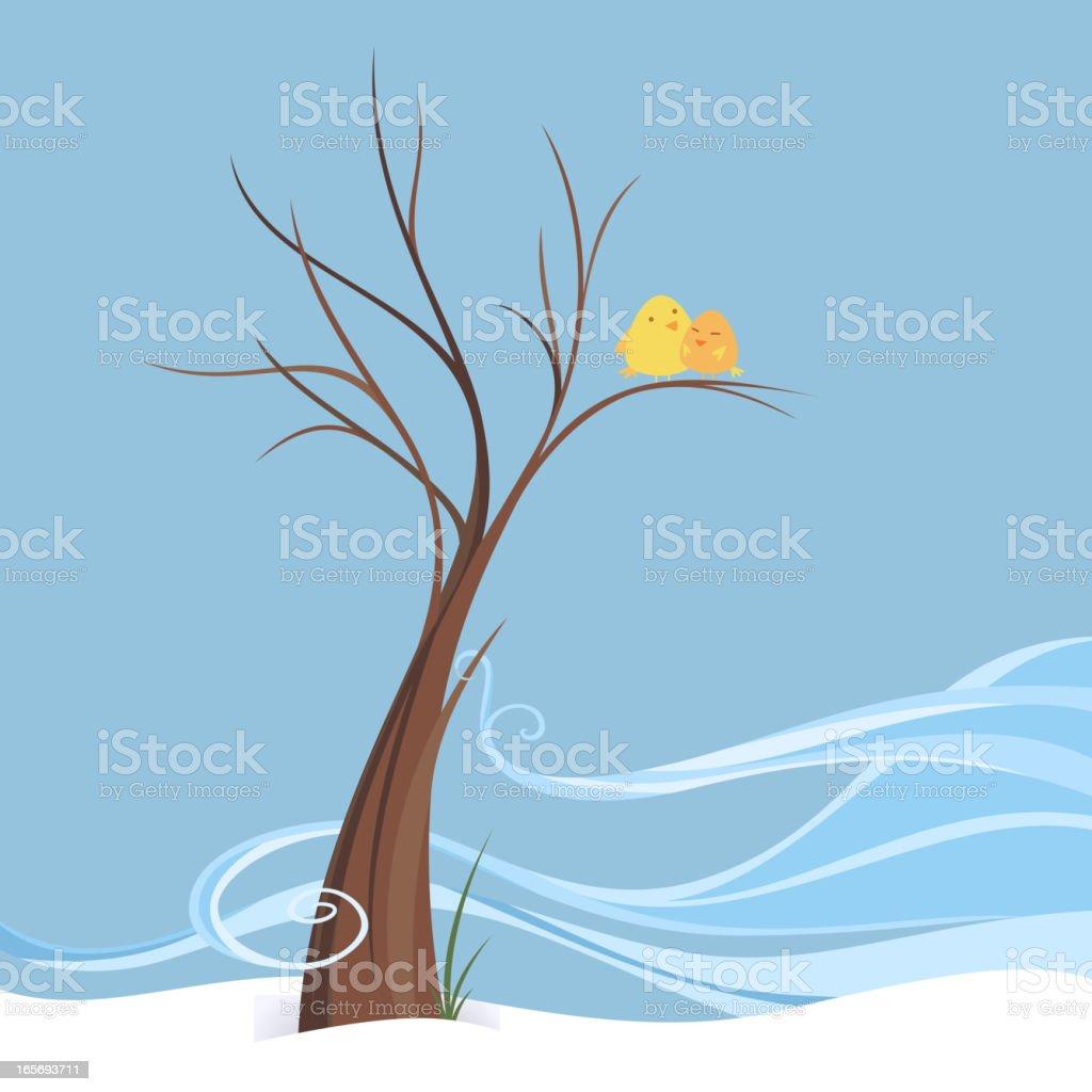 Birds love perching in breezy snowy winter on a tree royalty-free stock vector art
