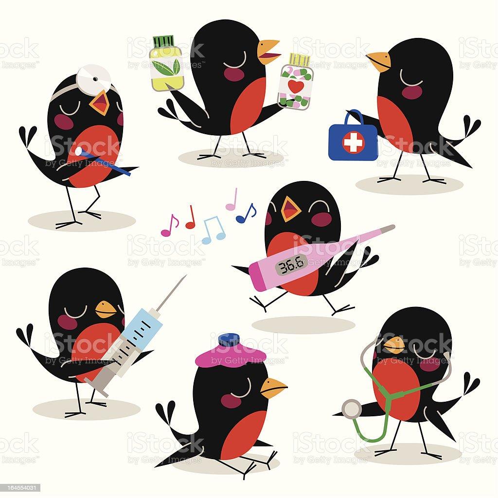 Birds Medical Treatment. vector art illustration