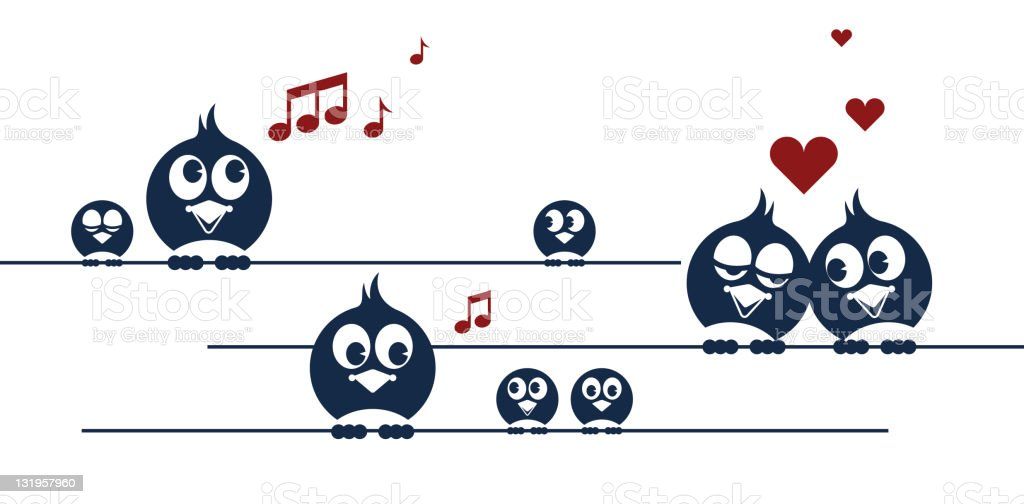 Birds on a wire royalty-free stock vector art