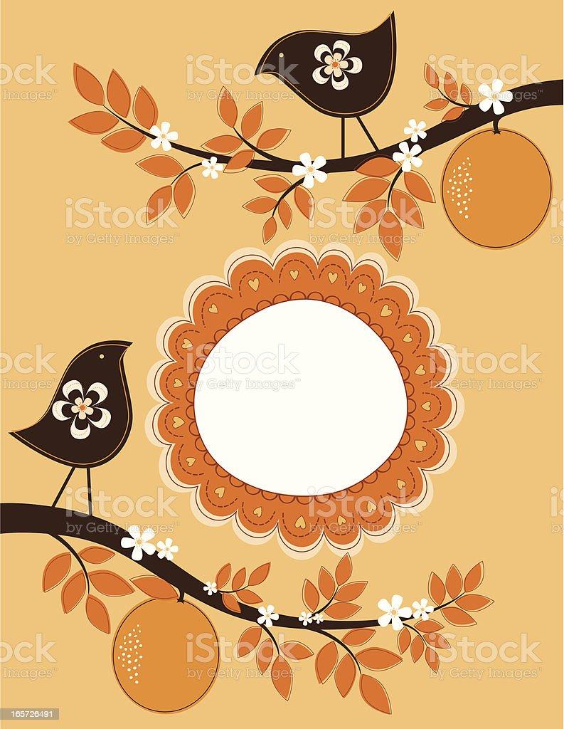 Birds on an Orange Tree royalty-free stock vector art