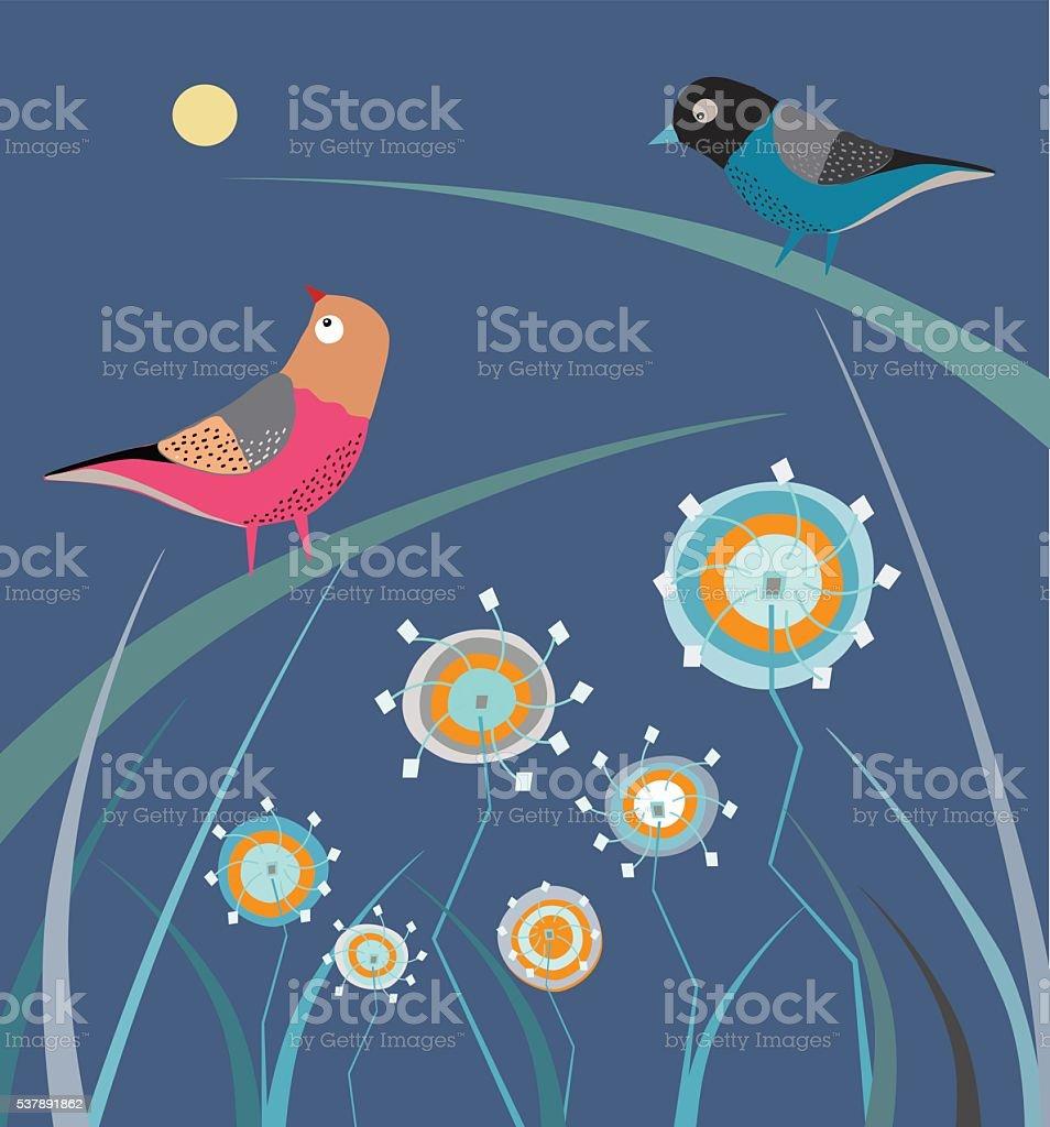 Birds  On Branch and dandelions vector art illustration