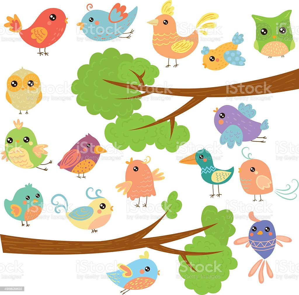 Birds on Different Branches. Vector Illustration vector art illustration