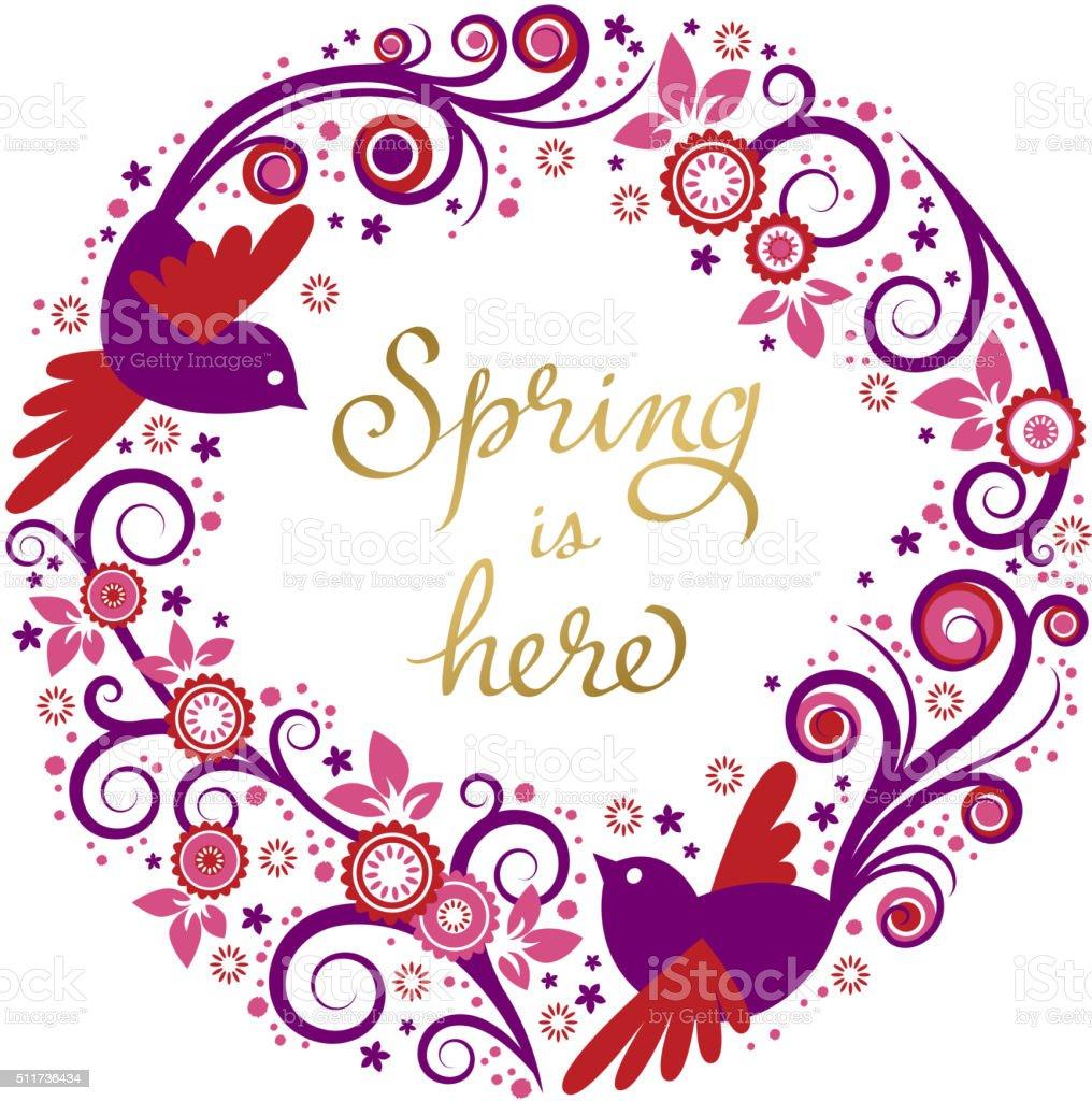 Birds on Spring Branch vector art illustration