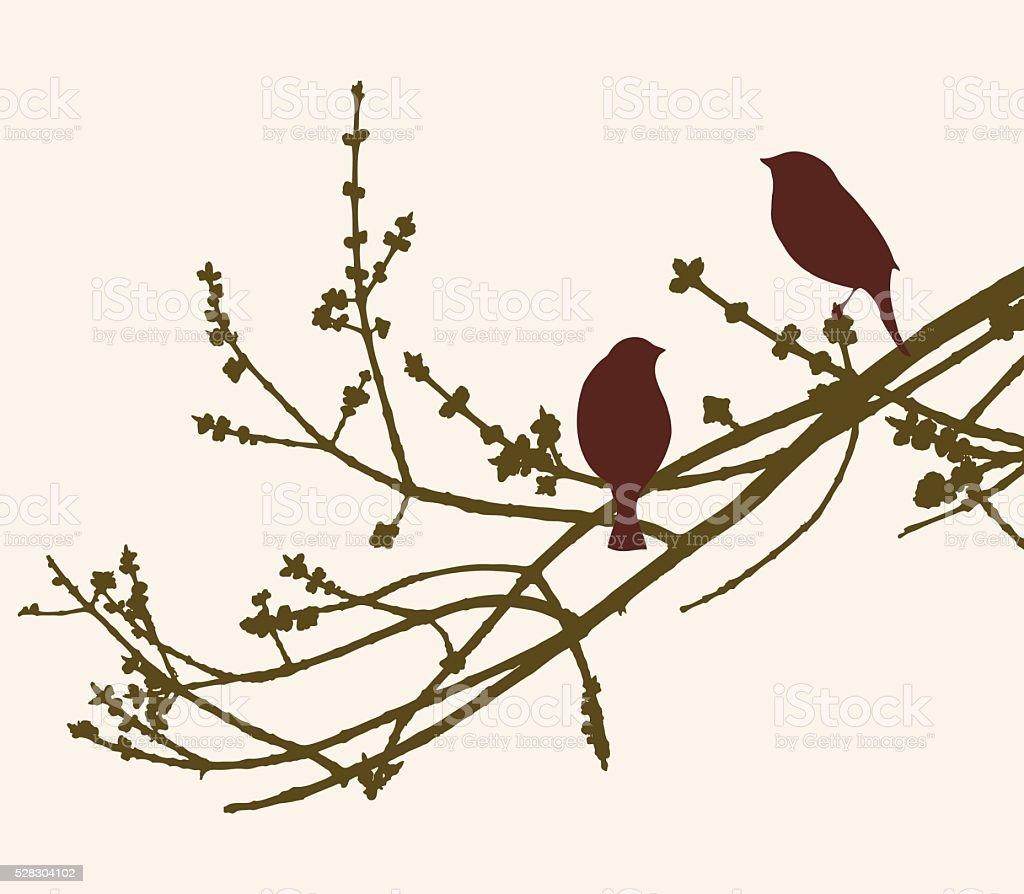 birds on the spring tree vector art illustration