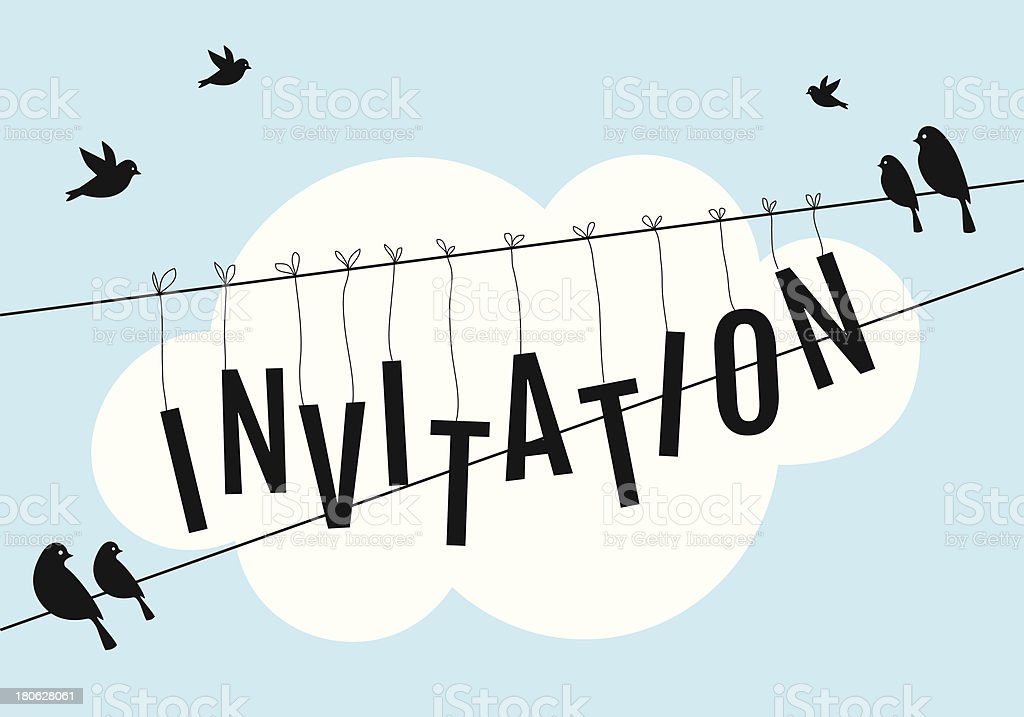 birds on wire in blue sky with white cloud royalty-free stock vector art
