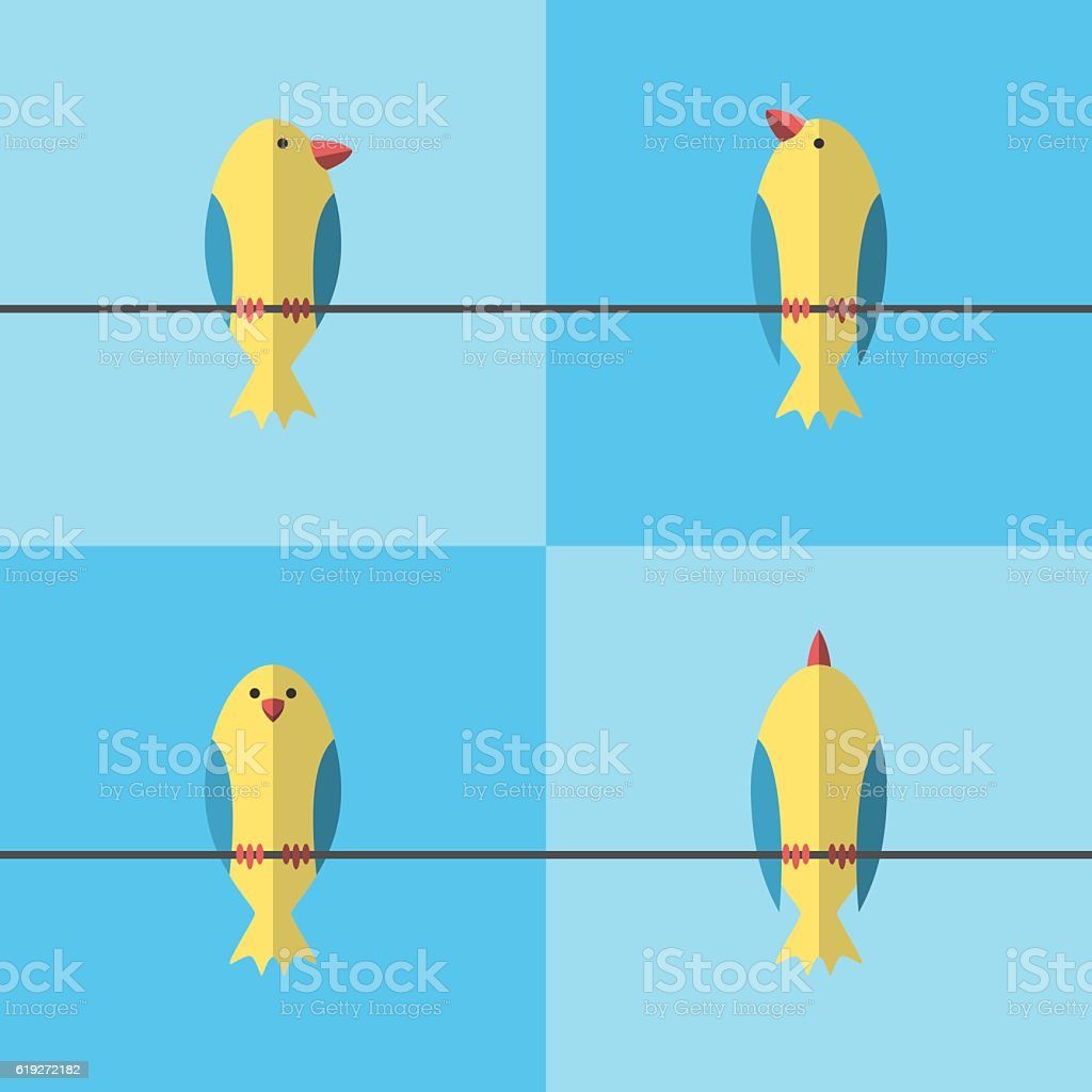 Birds on wire set vector art illustration