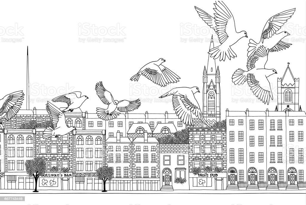 Birds over Dublin vector art illustration