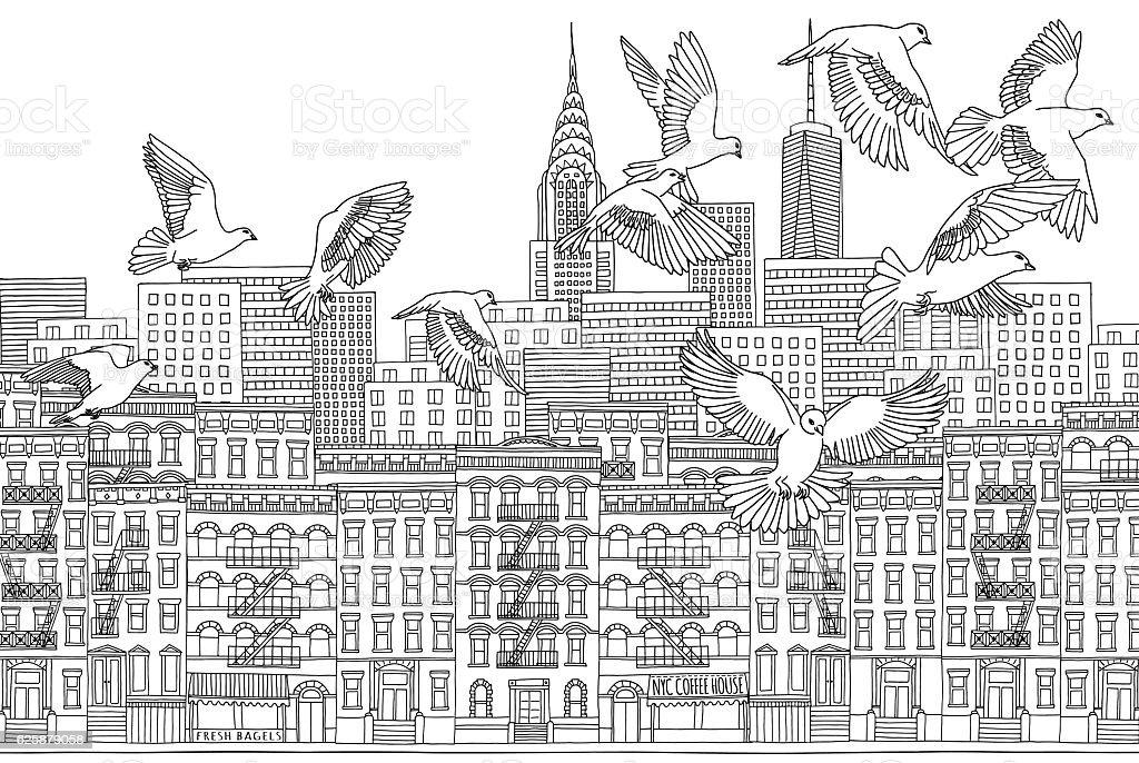 Birds over New York vector art illustration