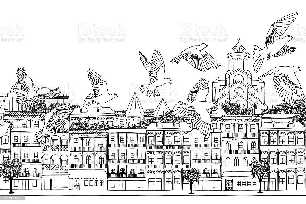 Birds over Tbilisi vector art illustration