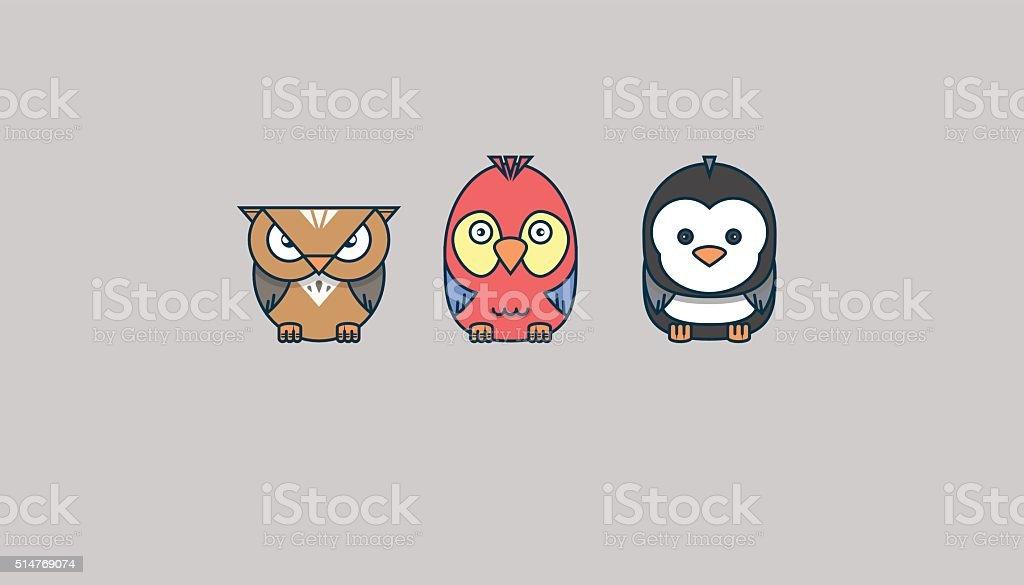 birds: owl, parrot, penguin vector art illustration