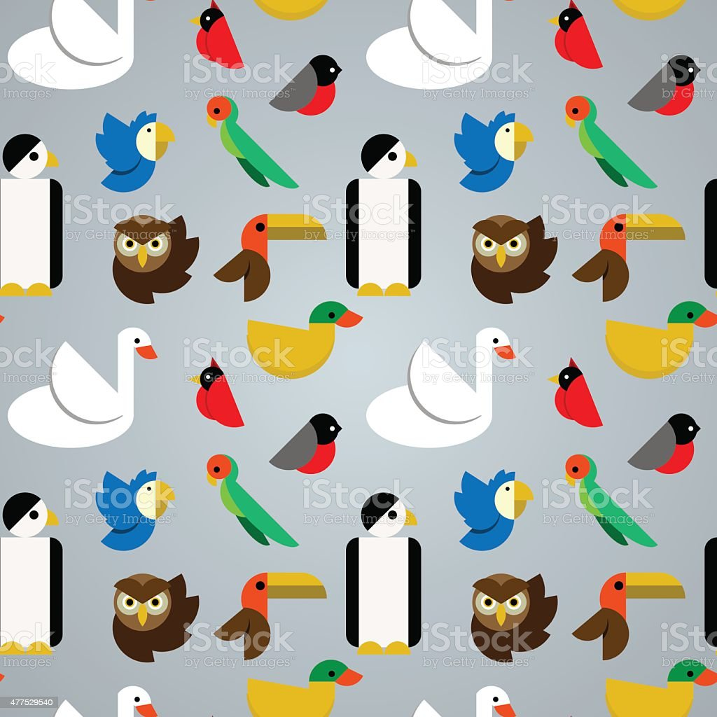 Birds seamless pattern vector art illustration