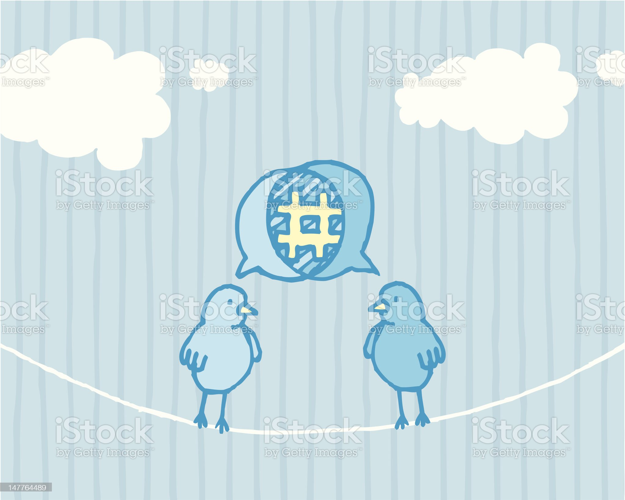 Birds sharing and tweeting / Social media dialog royalty-free stock vector art