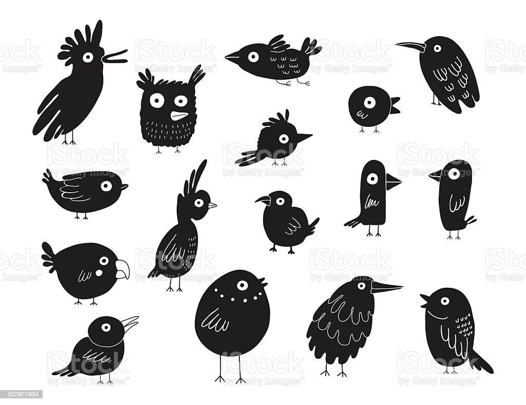 Birds silhouettes set, vector illustration vector art illustration