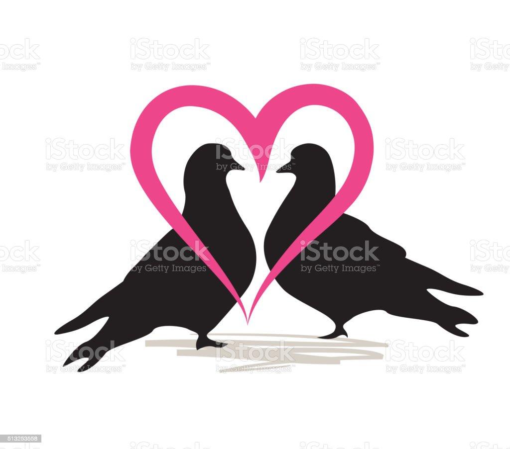 Birds silhoutte. Two birds in love vector art illustration