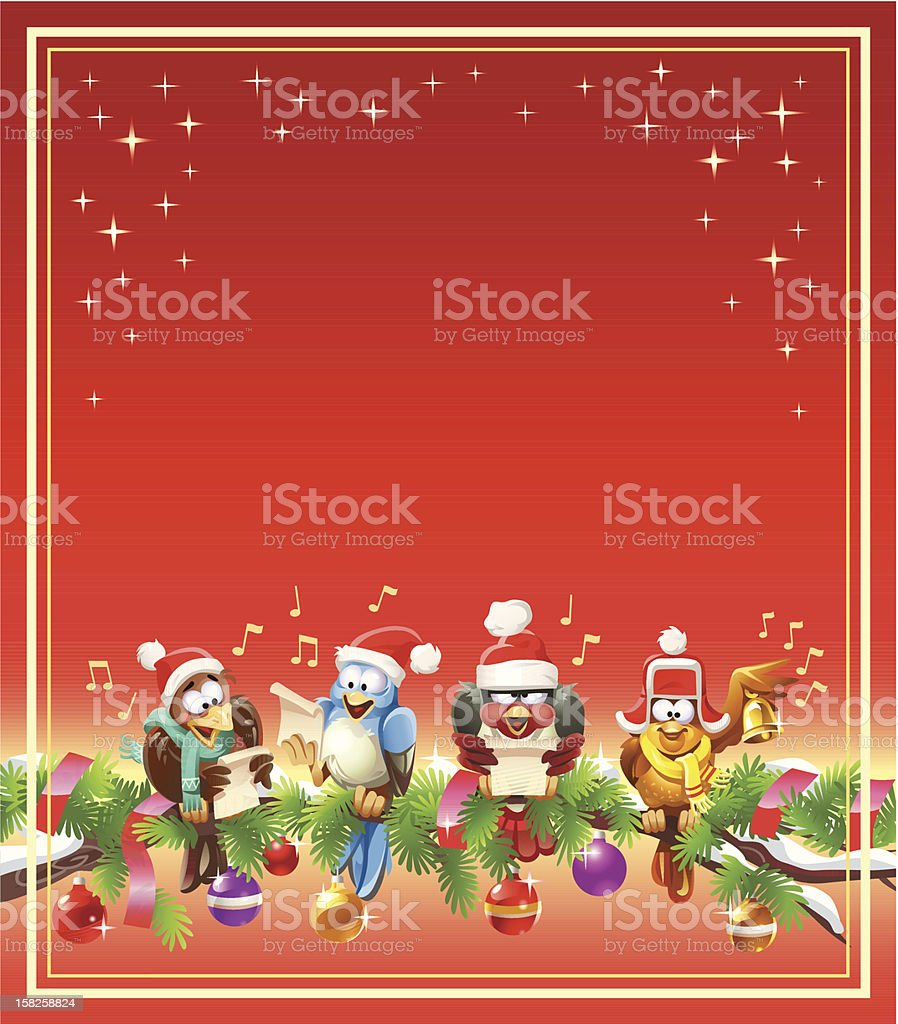 Birds Singing Christmas Carols vector art illustration
