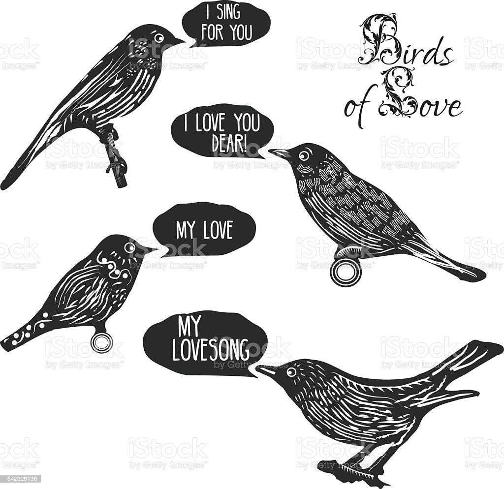 Birds singing lovesongs vector art illustration