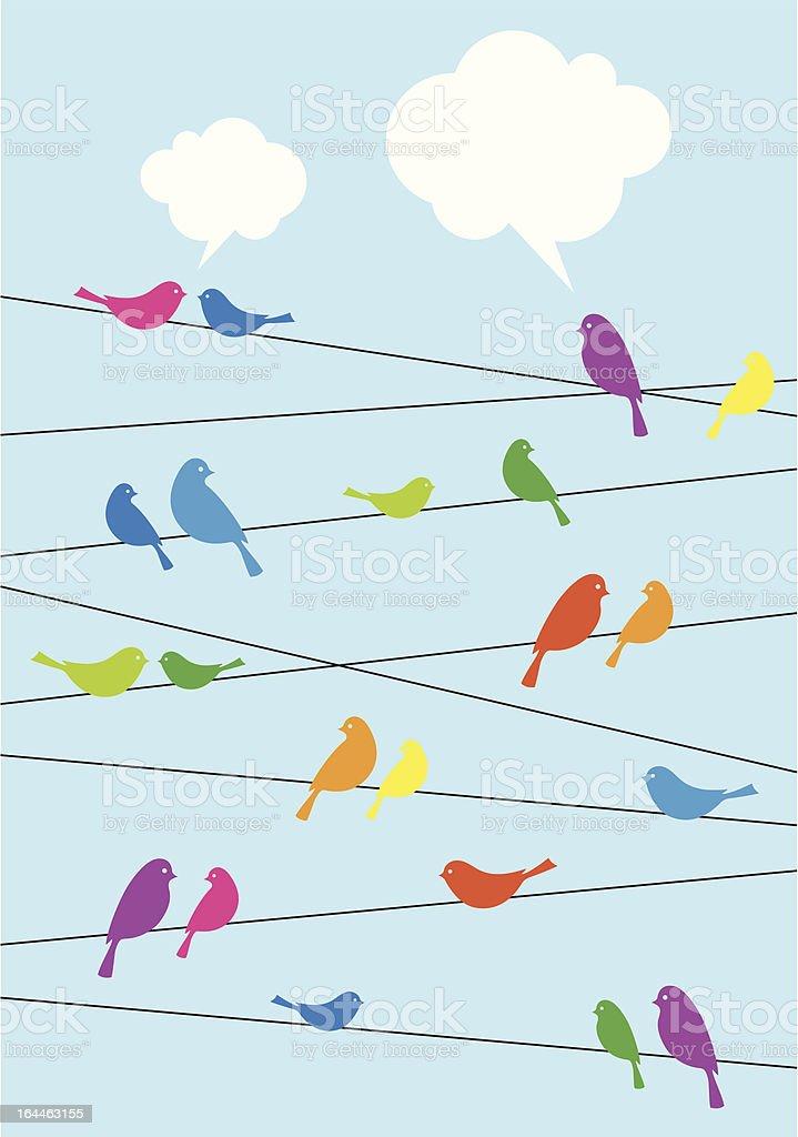 birds sitting on wire, vector background vector art illustration