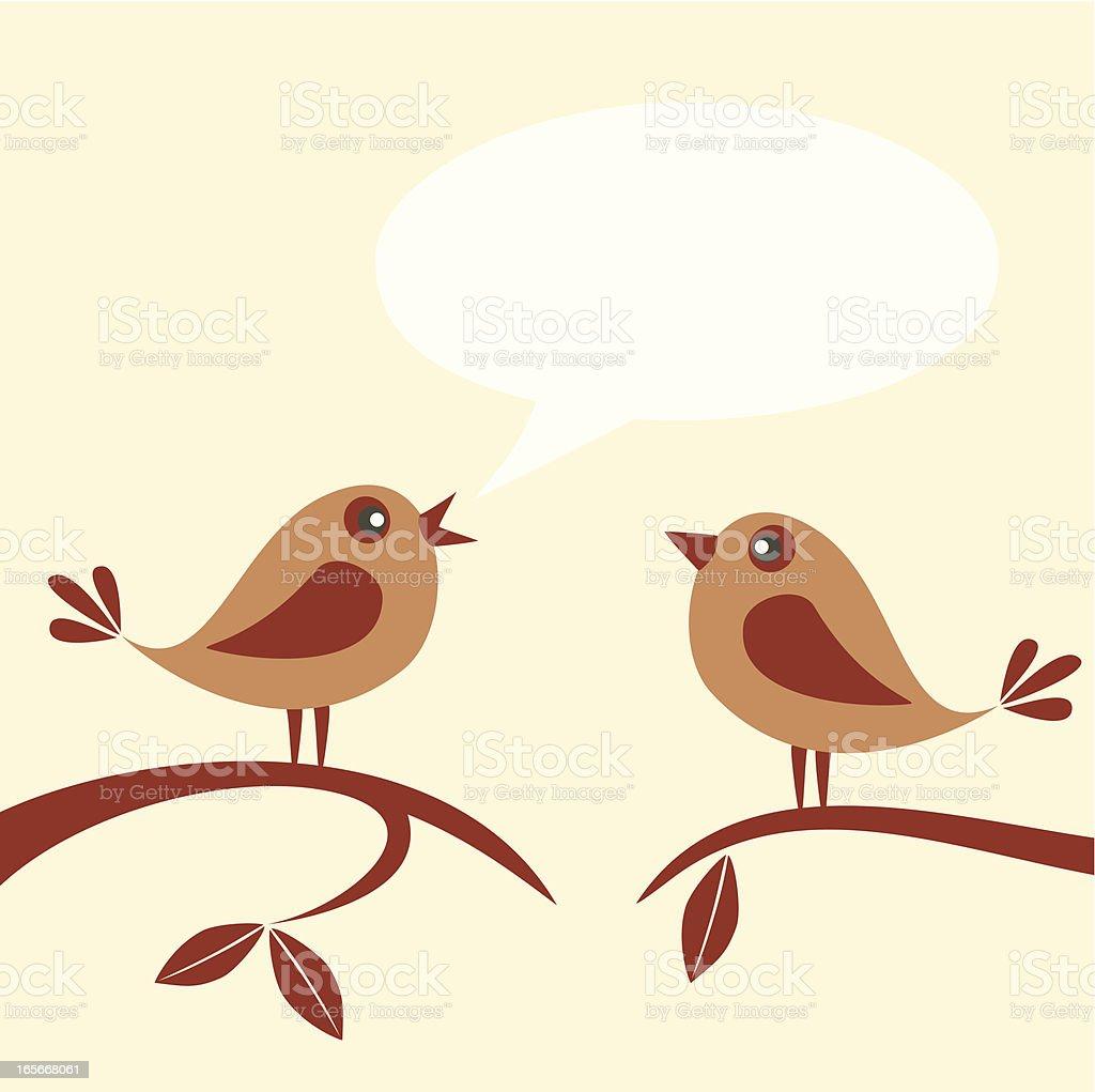 Birds speaking vector art illustration