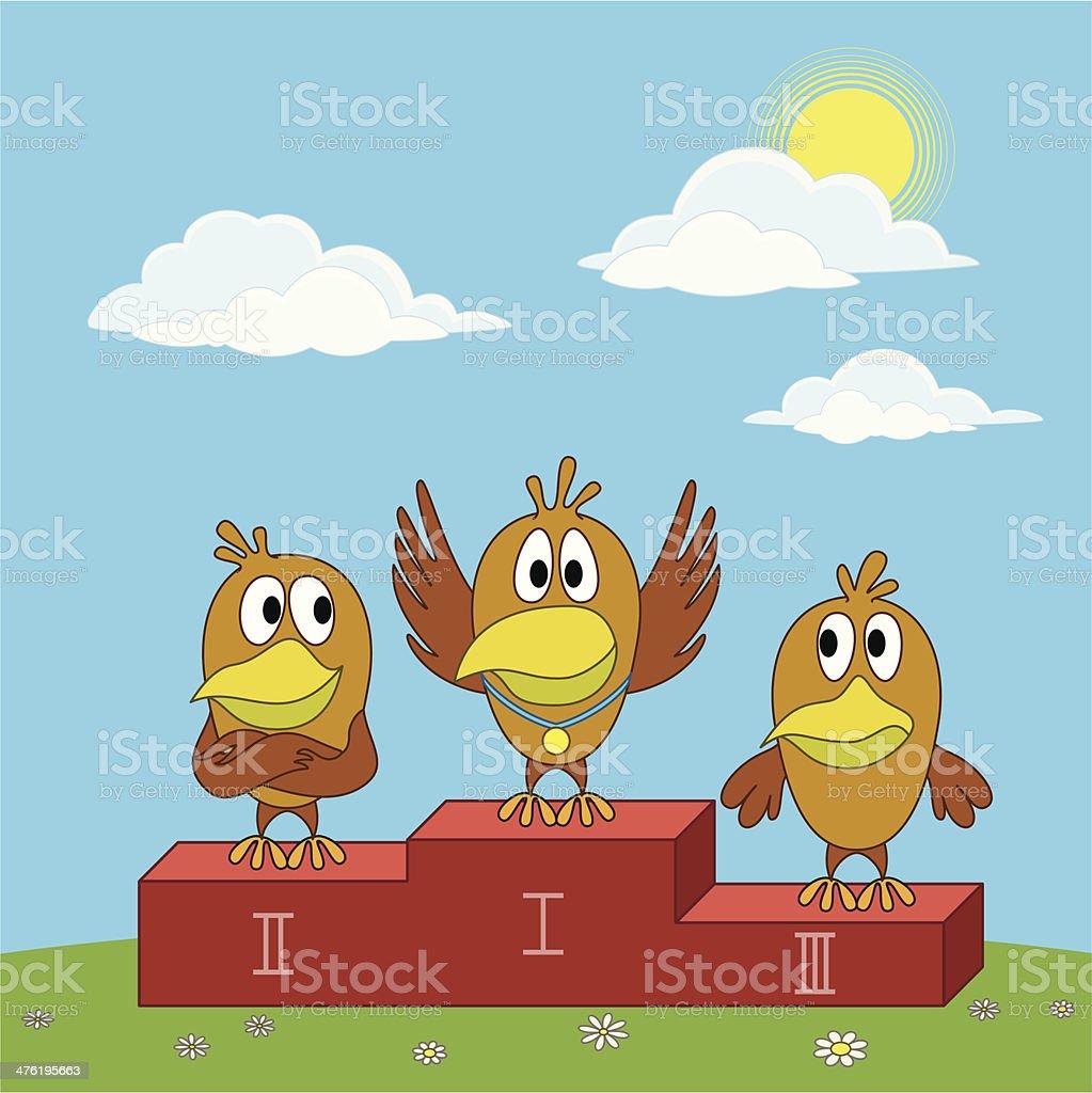 Birds sportsmans on pedestal royalty-free stock vector art
