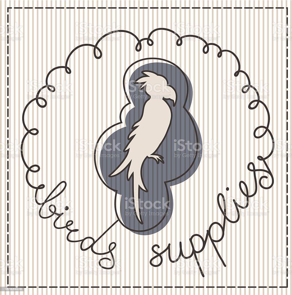 Birds supplies label royalty-free stock vector art