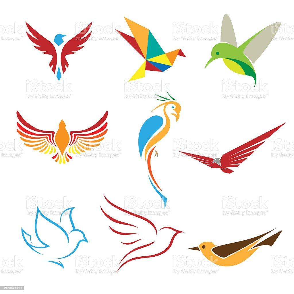 Birds symbols vector art illustration