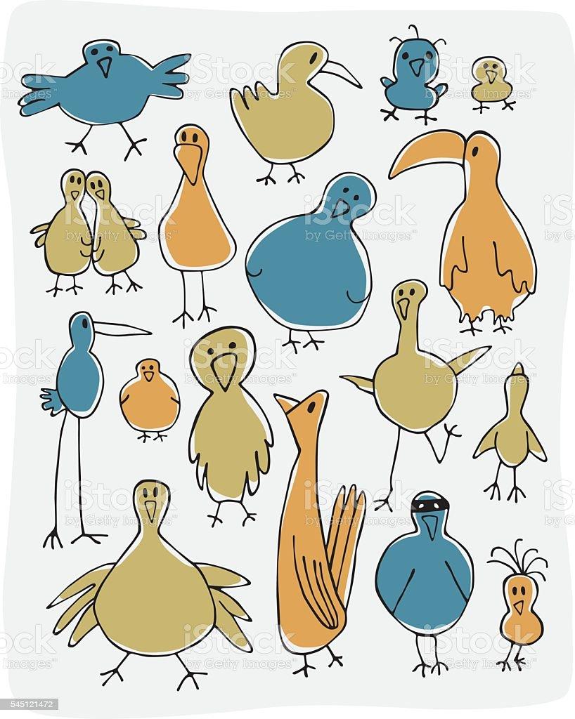 Birds vector art illustration